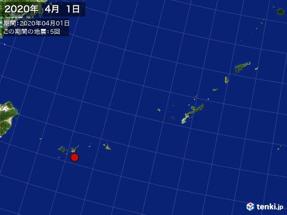 沖縄・震央分布図(2020年04月01日)