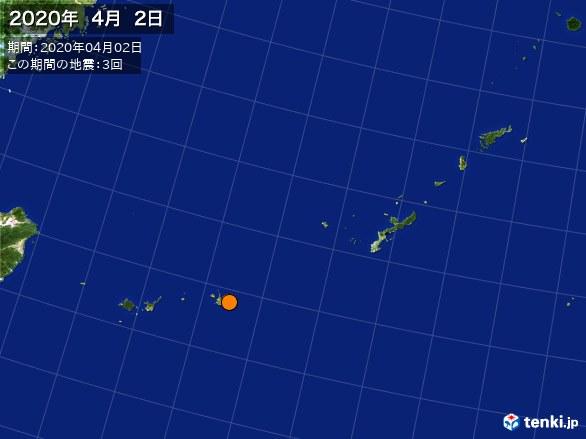 沖縄・震央分布図(2020年04月02日)