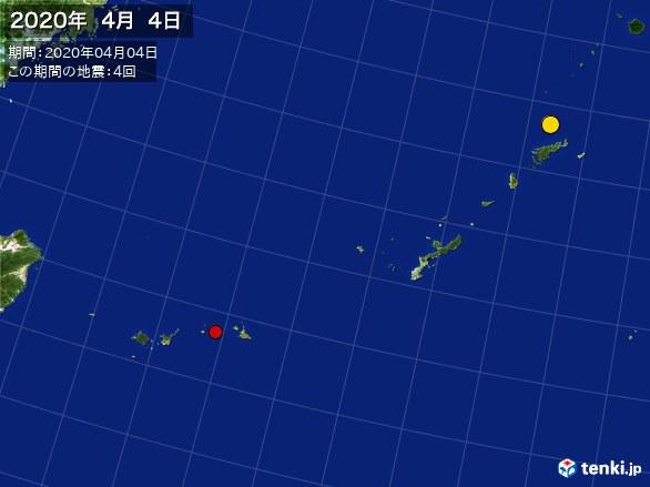 沖縄・震央分布図(2020年04月04日)