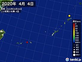 2020年04月04日の震央分布図