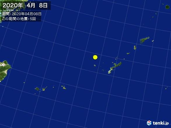 沖縄・震央分布図(2020年04月08日)