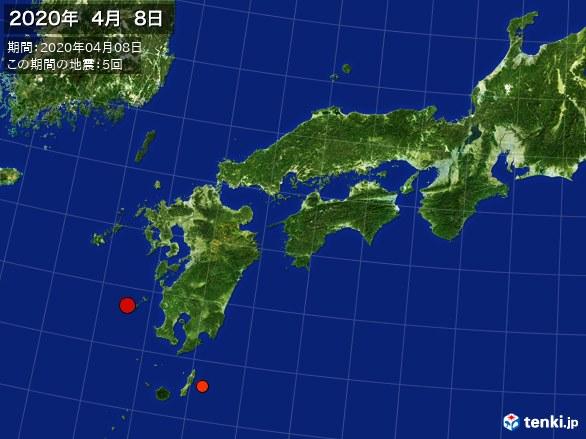 西日本・震央分布図(2020年04月08日)