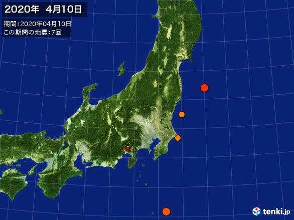 東日本・震央分布図(2020年04月10日)