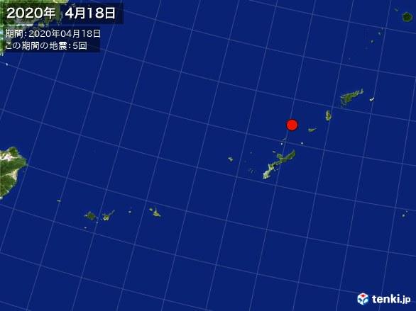沖縄・震央分布図(2020年04月18日)