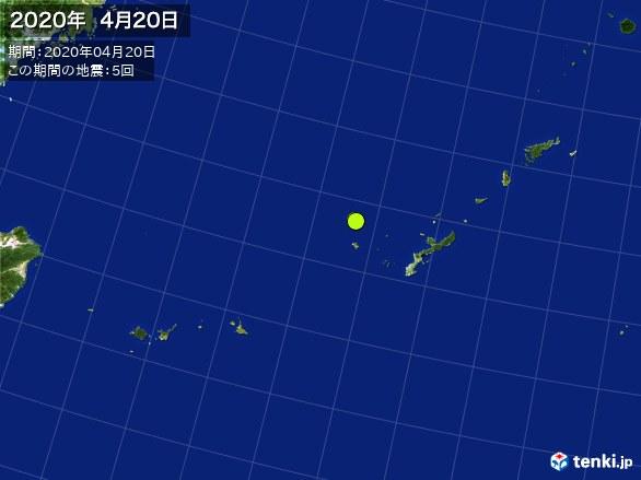 沖縄・震央分布図(2020年04月20日)