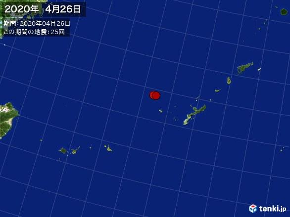 沖縄・震央分布図(2020年04月26日)