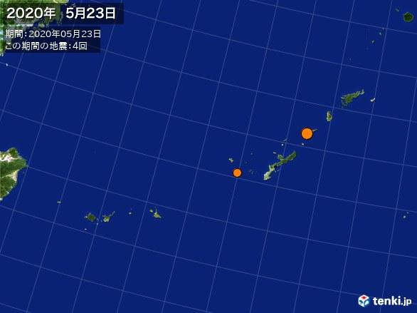 沖縄・震央分布図(2020年05月23日)