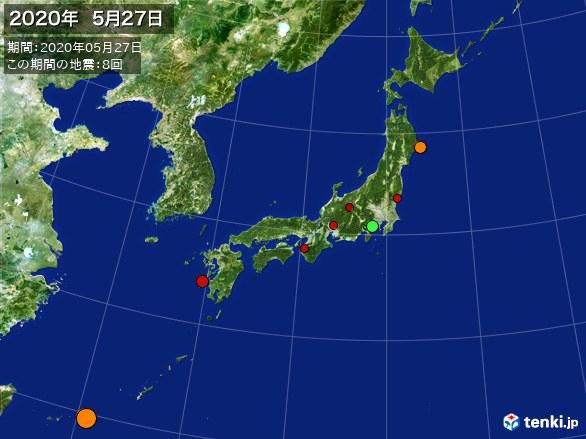 日本全体・震央分布図(2020年05月27日)