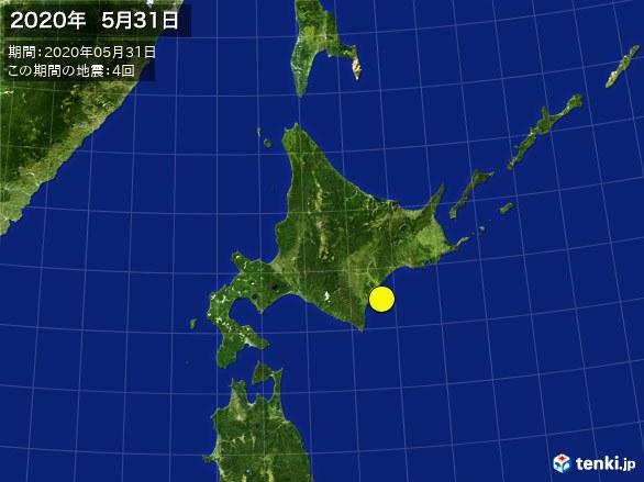 北日本・震央分布図(2020年05月31日)