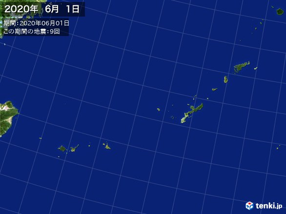沖縄・震央分布図(2020年06月01日)