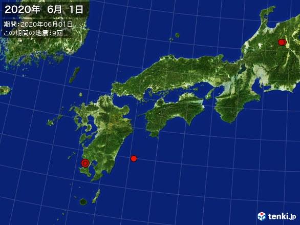 西日本・震央分布図(2020年06月01日)