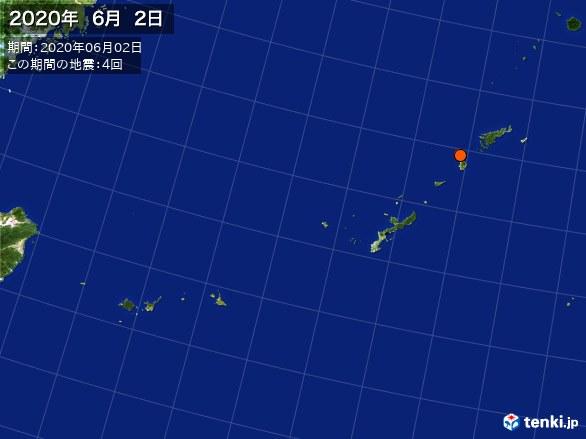 沖縄・震央分布図(2020年06月02日)