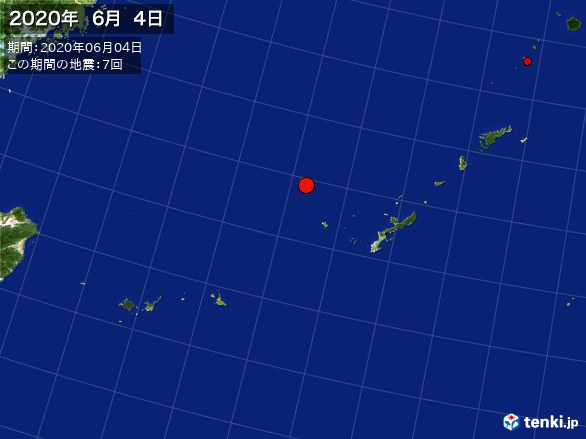 沖縄・震央分布図(2020年06月04日)