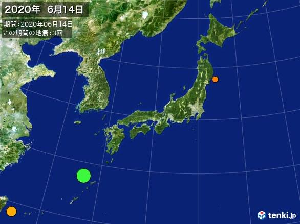 日本全体・震央分布図(2020年06月14日)