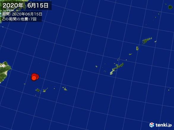 沖縄・震央分布図(2020年06月15日)
