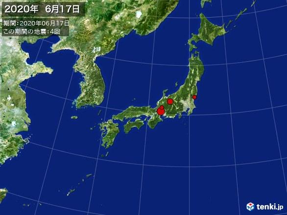 日本全体・震央分布図(2020年06月17日)