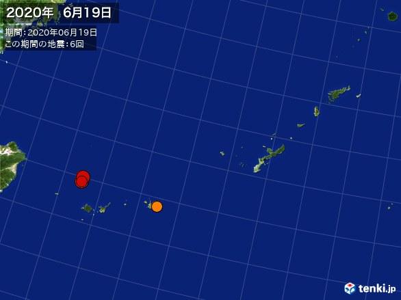沖縄・震央分布図(2020年06月19日)