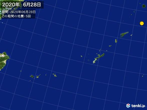沖縄・震央分布図(2020年06月28日)