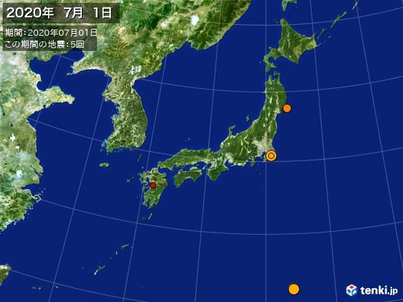 日本全体・震央分布図(2020年07月01日)