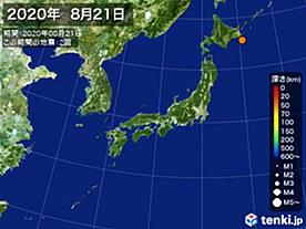 2020年08月21日の震央分布図