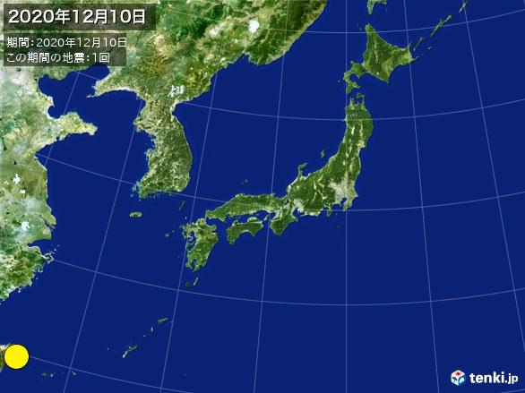 日本全体・震央分布図(2020年12月10日)