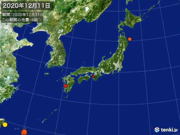 日本全体・震央分布図(2020年12月11日)
