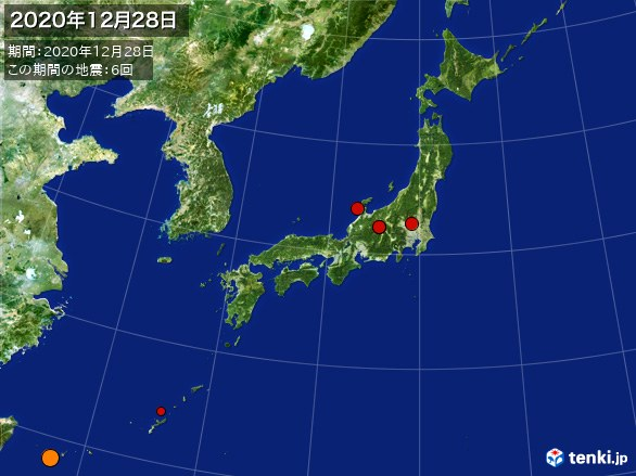 日本全体・震央分布図(2020年12月28日)