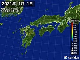 2021年01月01日の震央分布図