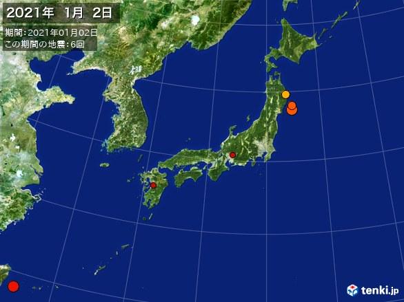 日本全体・震央分布図(2021年01月02日)