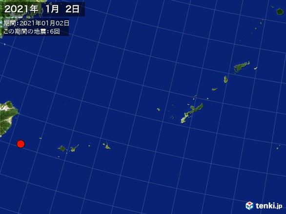 沖縄・震央分布図(2021年01月02日)