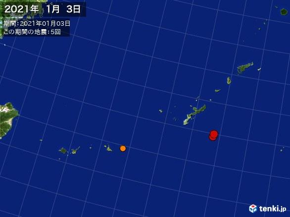 沖縄・震央分布図(2021年01月03日)