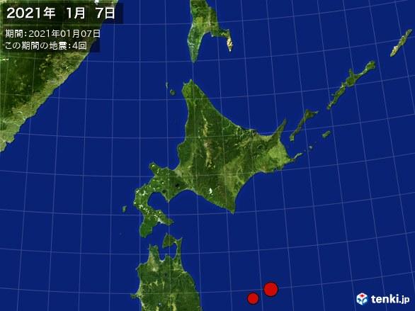 北日本・震央分布図(2021年01月07日)