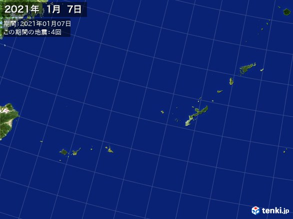 沖縄・震央分布図(2021年01月07日)