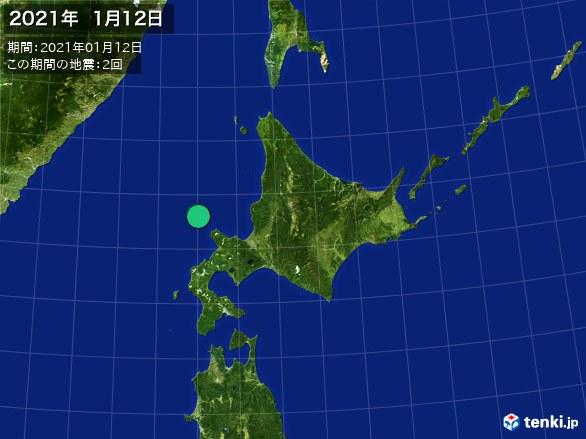 北日本・震央分布図(2021年01月12日)