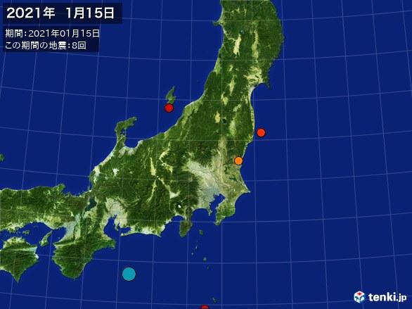 東日本・震央分布図(2021年01月15日)