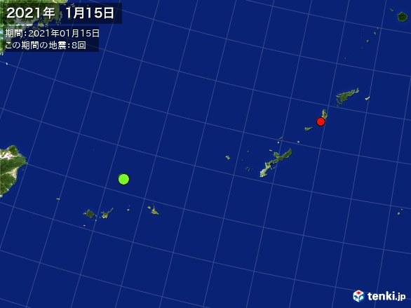 沖縄・震央分布図(2021年01月15日)