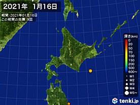 2021年01月16日の震央分布図