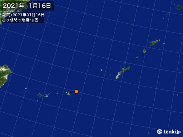 沖縄・震央分布図(2021年01月16日)
