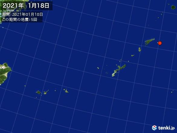 沖縄・震央分布図(2021年01月18日)