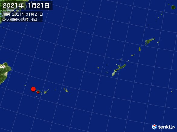 沖縄・震央分布図(2021年01月21日)