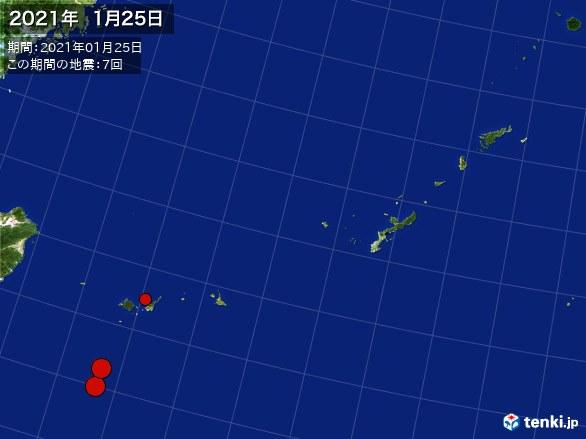 沖縄・震央分布図(2021年01月25日)