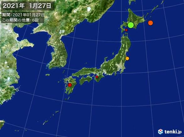 日本全体・震央分布図(2021年01月27日)