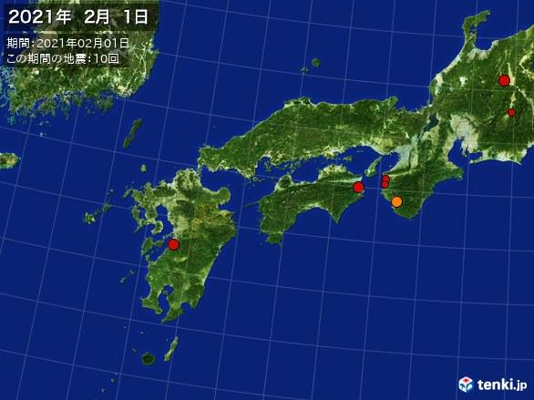 西日本・震央分布図(2021年02月01日)