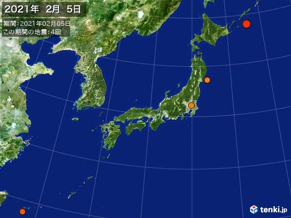 日本全体・震央分布図(2021年02月05日)