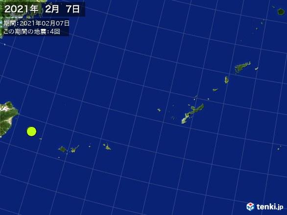 沖縄・震央分布図(2021年02月07日)