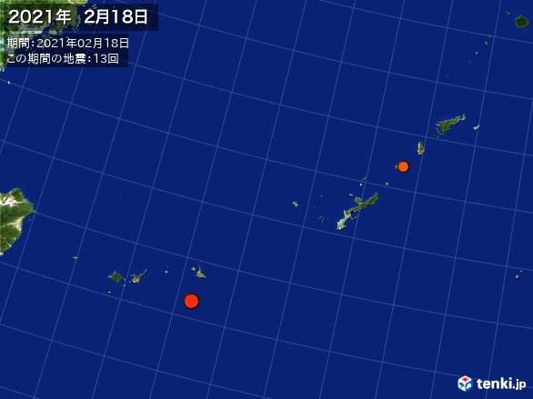 沖縄・震央分布図(2021年02月18日)