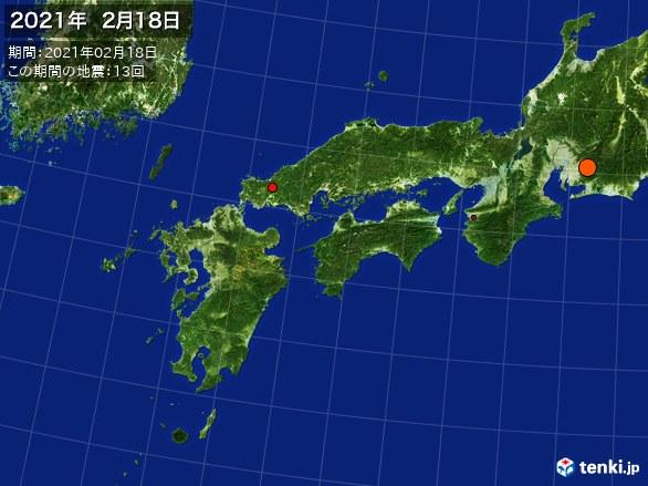 西日本・震央分布図(2021年02月18日)