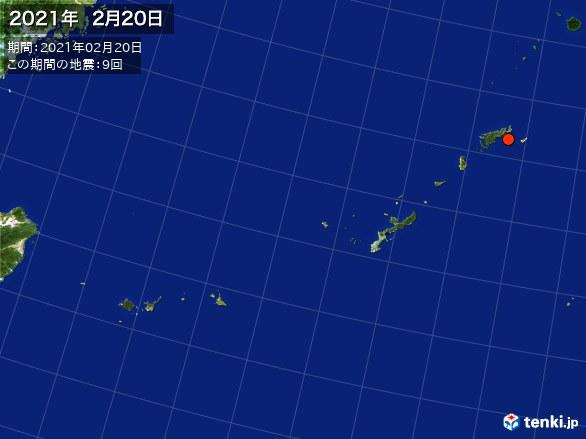 沖縄・震央分布図(2021年02月20日)