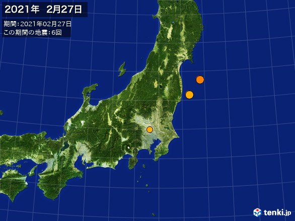 東日本・震央分布図(2021年02月27日)