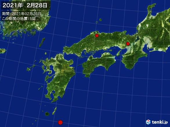 西日本・震央分布図(2021年02月28日)
